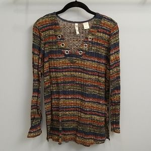 Chenault Striped V-neck Top in Size Large